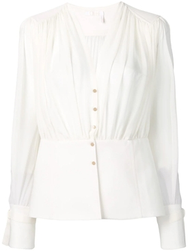 peplum hem blouse WHITE
