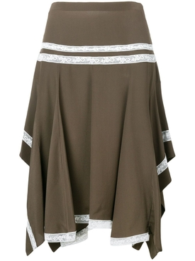 lace-embroidered draped skirt