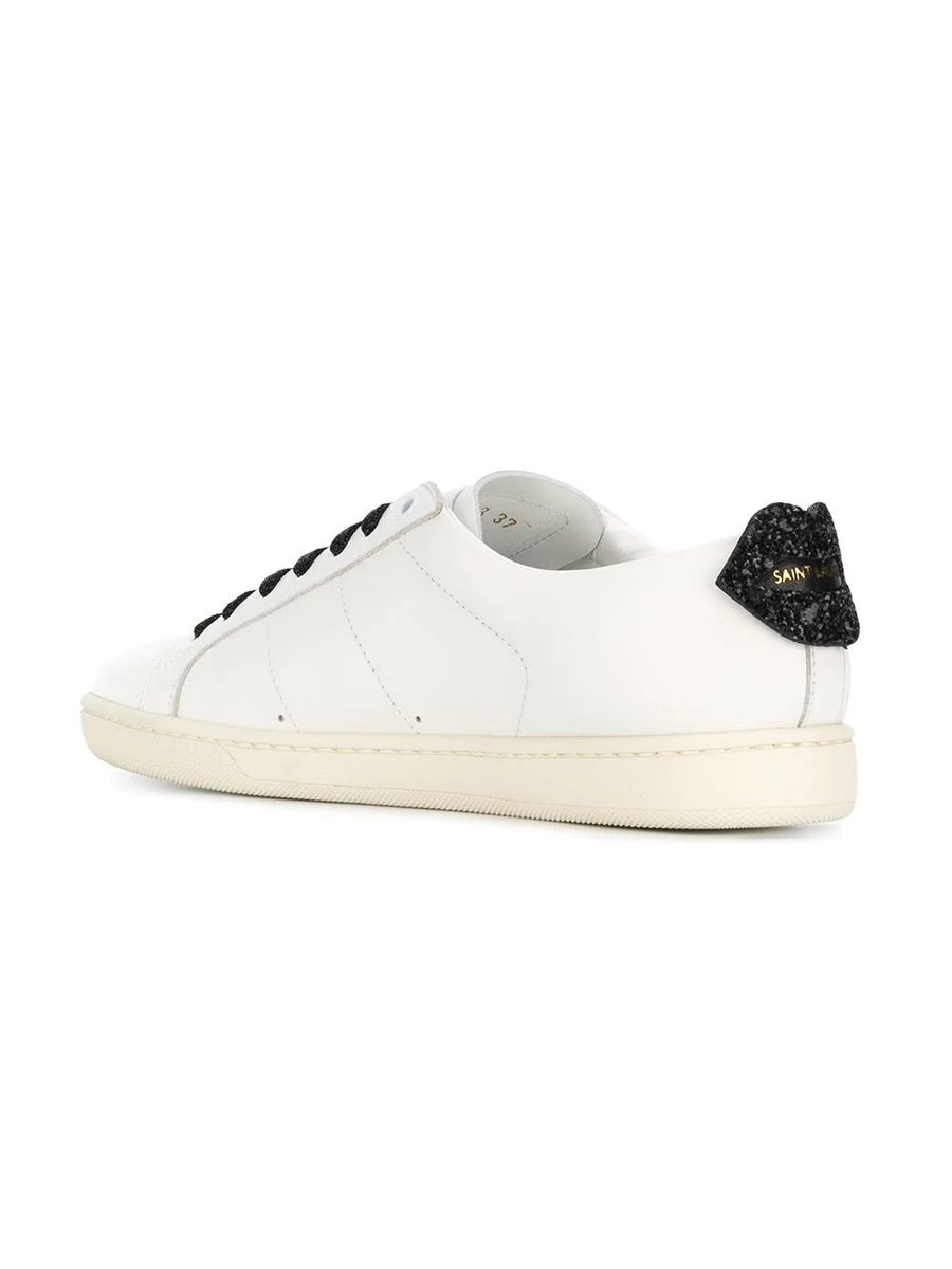SAINT LAURENT Glitters glitter lips sneakers white/black