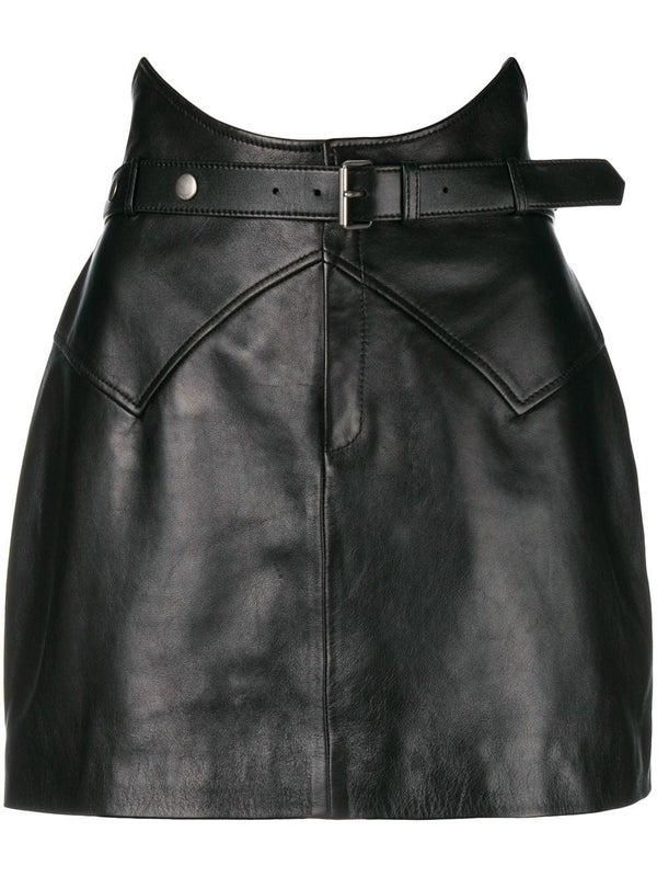 5c2df848e Saint Laurent - Belted Leather Mini Skirt - Women