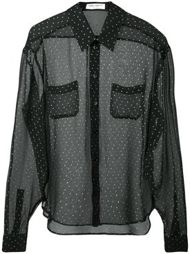 Saint Laurent - Sheer Polka Dot Shirt - Long Sleeved