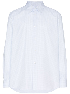Raf Simons - Square Print And Plastic Pocket Cotton Shirt - Men