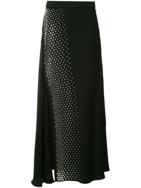 studded pleated midi skirt