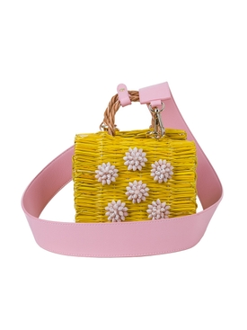 celeste mini pink basket bag