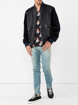 tiger embroidered bomber jacket