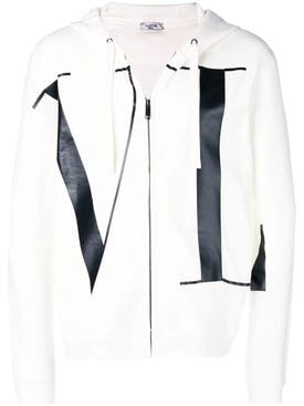 Valentino - Letters Print Zipped Hoodie - Men