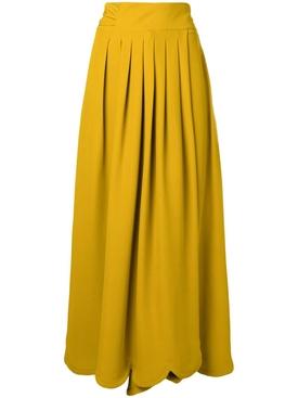 scalloped mustard maxi skirt