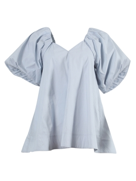 Light Blue Balloon Sleeves Blouse