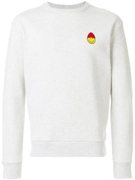 Smiley Patch Crewneck Sweatshirt HEATHER GREY