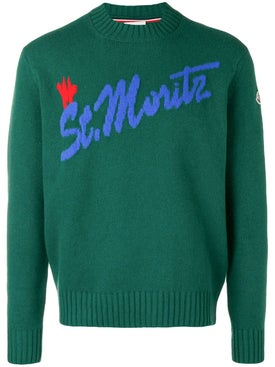 Moncler - Intarsia St. Moritz Knitted Sweater Green - Men