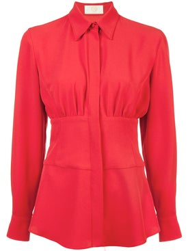 Sara Battaglia - Cinched Waist Shirt Red - Women