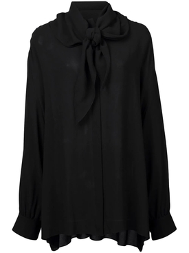 neck tie blouse BLACK