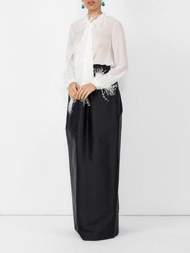 high-waist gathered skirt