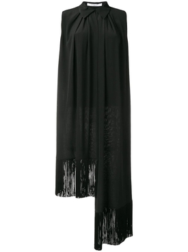 asymmetric fringe trim blouse BLACK