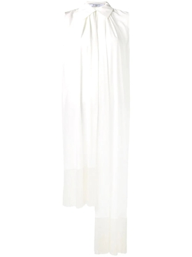 asymmetric fringe trim blouse WHITE