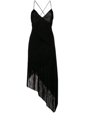 cascading fringe slip dress