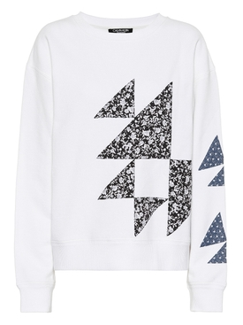 geometric print long sleeve shirt WHITE