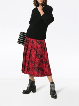 Tiger print pleated skirt RED