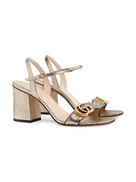 Metallic leather mid-heel sandal