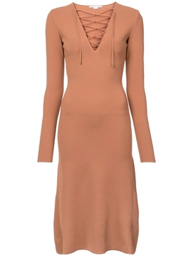 Lace-Up Jersey Dress ORANGE