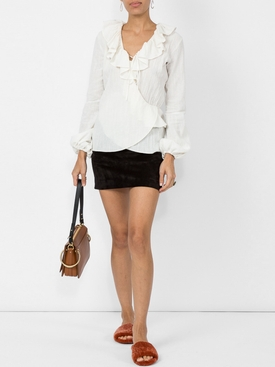 ruffle wrap blouse WHITE