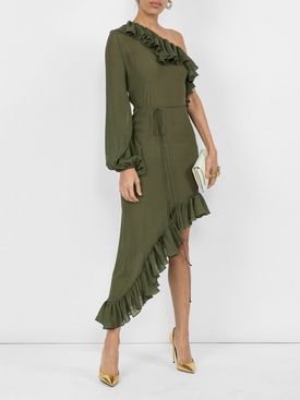 asymmetric ruffled dress