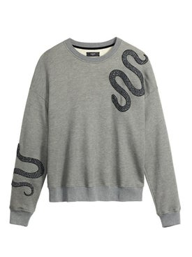 Amiri - Gliiter Snake Over-sized Crewneck Grey - Men