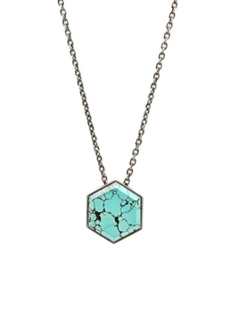 Large hexagon gemstone locket