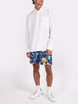 Bulldog Blue and yellow print swim trunks