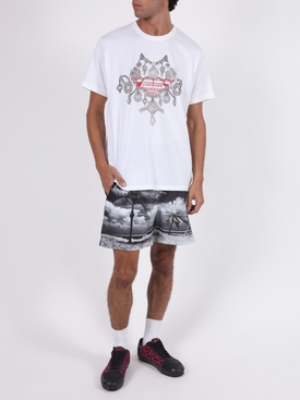 Black and white panoramic palm trees swim trunks