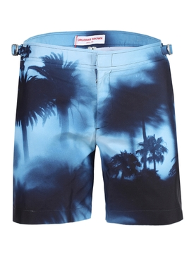 Blue panoramic palm trees swim trunks