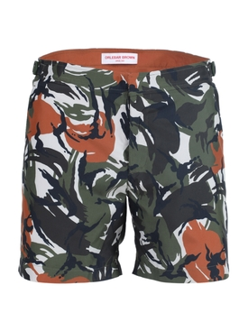 Bulldog green and orange print swim trunks