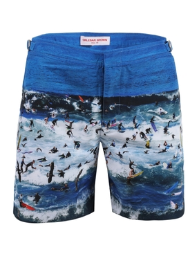 Bulldog Surf Print Swim Trunks