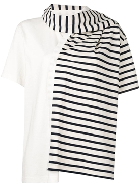 striped jersey t-shirt with draped scarf