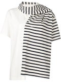 J.w. Anderson - Striped Jersey T-shirt With Draped Scarf - Women