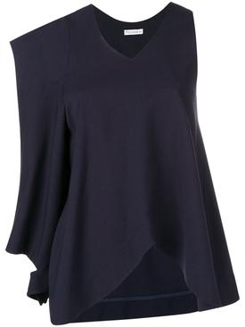 asymmetric patch pocket blouse BLUE