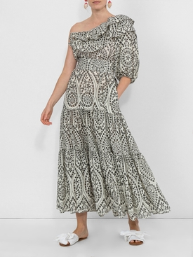 one shoulder dress BLACK & WHITE
