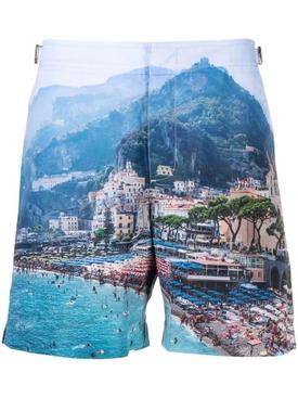 Bulldog Amalfi Forever Print Mid-Length Swim Trunks