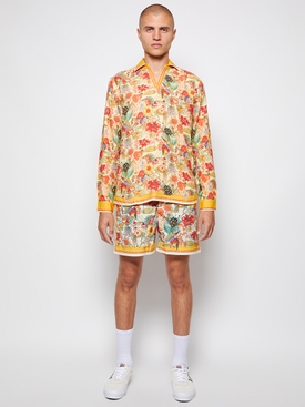 Eden Print Mid-Length Swim Shorts Bright Gold