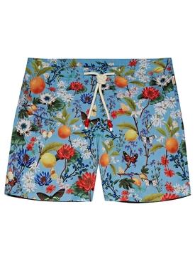 Botanical Mid-Length Drawcord Swim Shorts Capri Blue