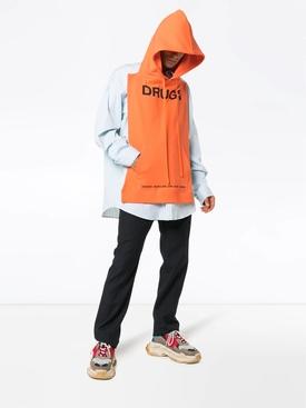 Drugs printed sleeveless hooded pannel