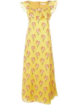 Sleeveless floral maxi dress YELLOW