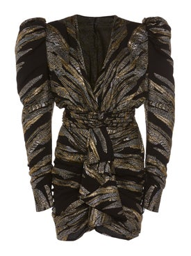 Dundas - Metallic Deep V Dress - Women