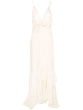 draped-style long dress WHITE
