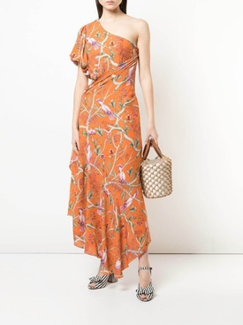 Tropical print maxi dress ORANGE