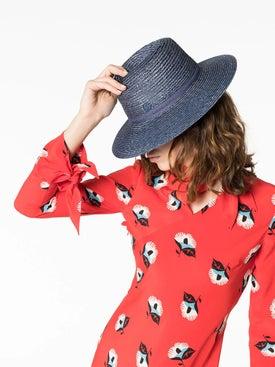 Maison Michel - Blue Straw Weave Hat - Women