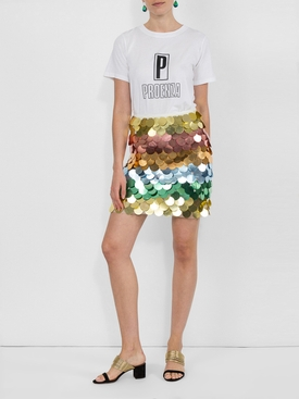 Rainbow Sequin Mini Skirt