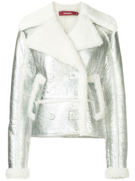 Hensley metallic shearling biker jacket