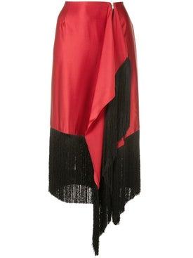 Marques'almeida - Fringed Asymmetric Skirt Black And Red - Women