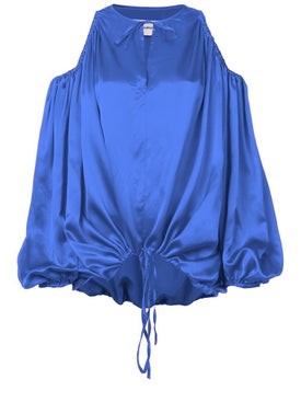 Marques'almeida - Cut-out Shoulder Blouse Blue - Long Sleeved